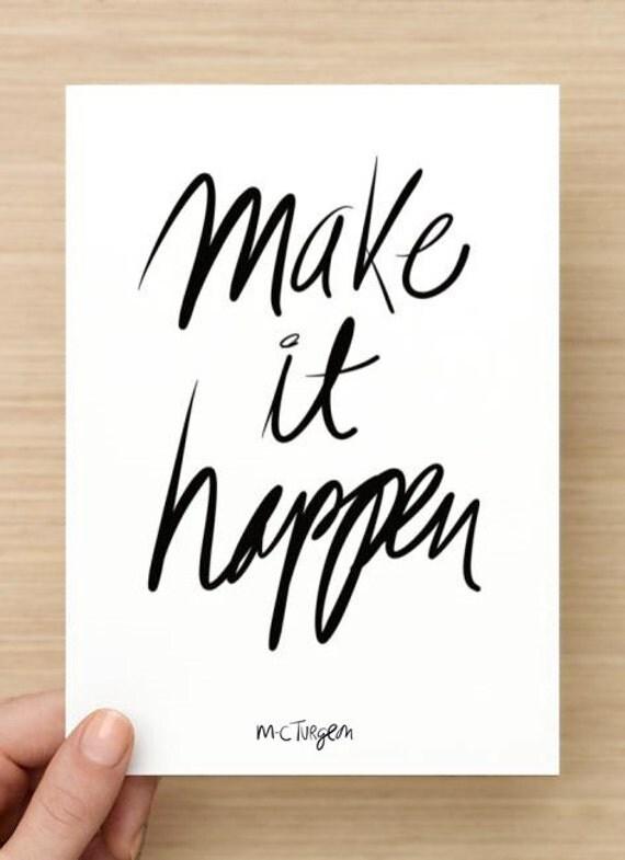 Make it happen - 5 large size Postcards set