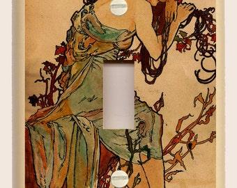 "Alphonse Mucha ""Summer"" Tan and Red - Art Nouveau Single Toggle Light Switch Plate"