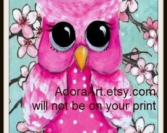 Cherry Blossoms Nursery Pink baby OWL wall decor, baby nursery. LARGE print 13 x 19, whimsical baby girl,