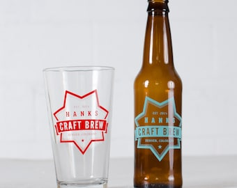 "CUSTOMIZED PINT & BOTTLE Combo- ""Creft Brew"" design on 8 pint glasses + 24 beer bottles"