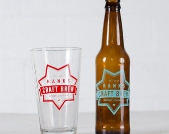 """CUSTOMIZED PINT & BOTTLE Combo- """"Creft Brew"""" design on 8 pint glasses + 24 beer bottles"""
