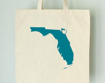 SALE Florida LOVE Tote Jacksonville TURQUOISE state silhouette with heart on natural bag