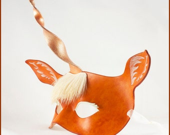 Unicorn mask with real hair handmade leather palomino masquerade costume for Mardi Gras Halloween LARP