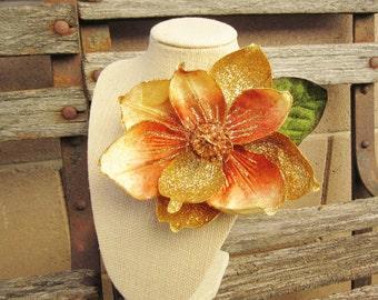 Gold Holiday Magnolia Hair Clip, Sparkle Gold Hair Clip