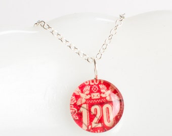 Medium necklace | Postage stamp | Czechoslovakia | Red | Birds