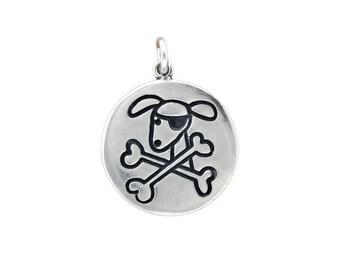 Pirate Dog Necklace - Reversible Sterling Silver Dog Pendant - Star Medallion