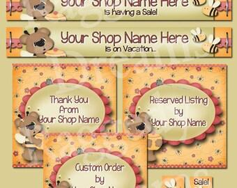 Etsy Banner Set - Premade Etsy Banner - Etsy Shop Set - SHOP ICON - Shop Profile Photo - Cute Honey Bear Bees - Raggedy Dreams Shop Design
