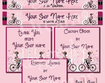 Premade Etsy Banner Set - Etsy Shop Design - SHOP ICON - Shop Profile Photo - Pink - Ladies - Bicycle - Boutique