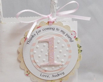 Cream Floral Favor Tags- Girl 1st Birthday- Set of 12