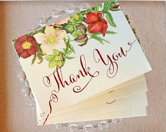 Marsala Floral Thank You Notes Vintage Garden Wedding set of five