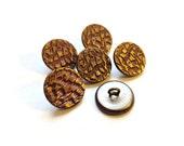 Vintage Button Lot - 6 faux fur metal buttons, faux feather metal buttons, shank buttons, vintage button destash lot, matching buttons