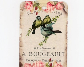 Bluebird Gift Tags , Vintage Bird Tags , Birds and Roses , Shabby , Rustic , French Tags  , Shabby Bird Tags , Rustic Bird Tags ,