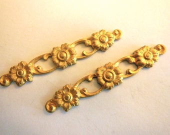 Vintage metal findings (2) flower deco charms rose findings long link connector gold 1 and a half inches long 40mm(2)
