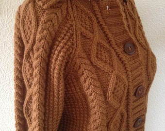 KNIT ARAN JACKET/Jacket Sweater with Collar Aran Womens Unisex Rust Ginger Medium Size-Ready to Ship
