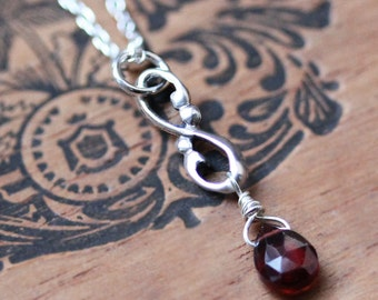 Red garnet necklace, January birthstone necklace, infinity necklace, swirl necklace, briolette necklace, gift for wife ready to ship wrought