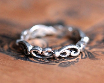 Boho stacking band, silver stacking bands for women, silver rings handmade, silver wedding band, water swirl, ready to ship size 5.5