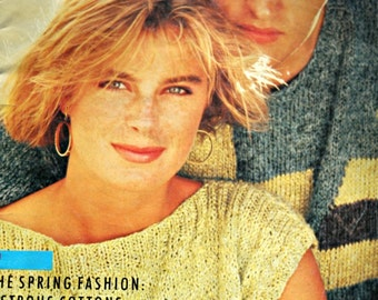 Sweater Knitting Patterns Scheepjeswol Journal 52 Spring Men Women Cardigan Vintage Paper Original NOT a PDF