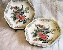 PAIR Japanese Peacock Plates | Porcelain Hexagonal | Sato Gordon Collection | Beautiful Art Features Peacock Amid Flowers, Rich Gold Accents
