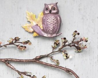 SALE! Vintage Molded Plastic Owl Brooch - autumn maple leaf purple bird pin