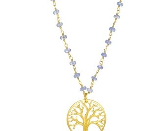 Gold-plated Tree of Life Necklace With Tanzanite Gemstones