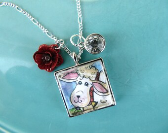 New~Wearable Art Glass Artist Pendants, Necklace, Silver Plated, Watercolor Illustration Under Glass, Jewelry, Sheep Print, Beautiful