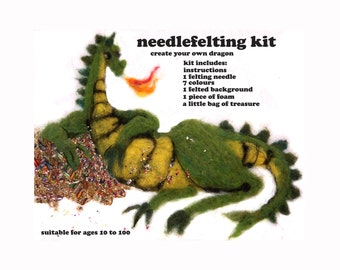 Needle Felting Kit.  bling dragon