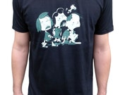 Gift for men, Peanuts Zombie T shirt, Snoopy graphic tee, Charlie Brown, Black shirt, Crew neck tee