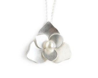 Silver and Pearl Flower Necklace - Sterling Silver and Freshwater Pearl Pendant - Lotus Blossom Pendant