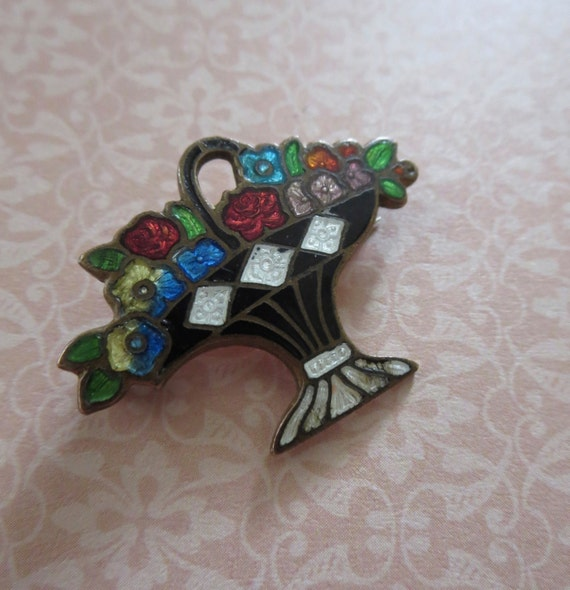 art deco cloisonn enamel flower basket brooch. Black Bedroom Furniture Sets. Home Design Ideas