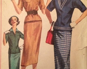 1950's Two-Piece Dress Vintage Simplicity 2180 Pattern