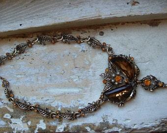 FREE SHIPPING Vintage Large Rhinestone Chunky Bib Style Necklace