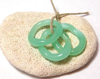 Sea Green Handmade Lampwork Glass Slider Beads Freeform Rings