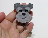 Schnauzer Badge Reel,Schnauzer Badge Card Holder,Schnauzer,Dog, ID Holder,Nursing Name Badge Holder,Badge Reel,Retractable,Made to Order