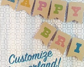 SAVE 12% County Fair Party Garland, Faux-Bois Paper Part Banner 5x7 with personalized message, great for showers and birthday parties