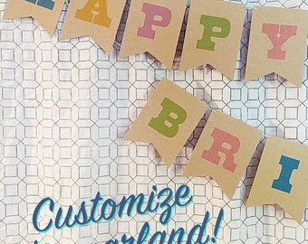 Personalized County Fair Party Garland, Woodgrain Rainbow Party Banner, mothers day, shower, wedding, birthday party decor