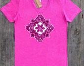 Mandala yoga batik t shirt hand painted & hand dyed  tops and tees women pink