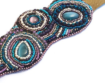 Nesoi // Bead Embroidered Cuff // Seed Beads // Beadwork // Beaded // OOAK // Purple, Blue, Pink // Cat Eye Cabochons Seed Beads // Leather
