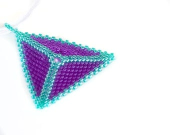 Beaded Triangle Necklace // Purple and Green // Beadwork // Seed Beads
