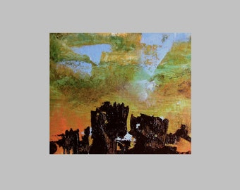 "Art, ""Fortress Komeda"", original abstract landscape oil painting, amber, dark brown, 12 x 10 in"