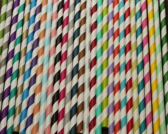 50 Stripe Paper Straws, you choose colors