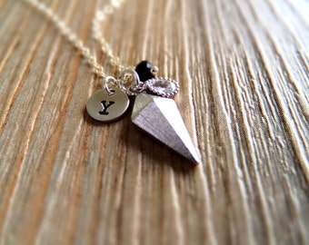 Black and Silver Jewelry Necklace - Personalized Necklace - Spike Charm - Sterling Silver Jewelry