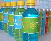 Instant download - SCIENCE Party Small Drink Bottle Labels (Blue, Green) DIY Printable