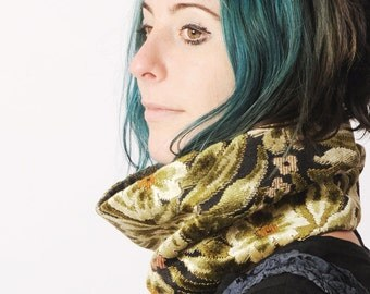Green floral Cowl Scarf - green, black and brown floral velvet neckwarmer cowl, Green tube scarf, Gift for women, Womens accessories, MALAM
