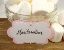 10 Light Pink Custom Candy Buffet Labels - Tags - Custom  Dessert Table Tags