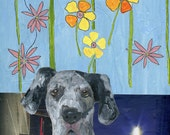 Collage + painting  The dogs next door //  dog 2  /  original  /   painting  /  collage  flowers on  wallpaper  animal adoption
