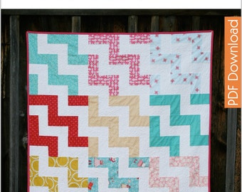 Modern Quilt Pattern - Up a Notch - PDF