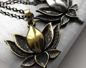 Gold Lotus Necklace, Antiqued Gold Lotus Pendant Necklace, Lotus Jewelry, Yoga Jewelry, Kamal Padma India Indian Jewelry, Hindu Jewelry