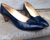 Vintage Lili Evins made in Italy blue leather US women's size 9