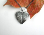Heart Print Necklace with Dog or Cat Nose Print and Adult Fingerprint