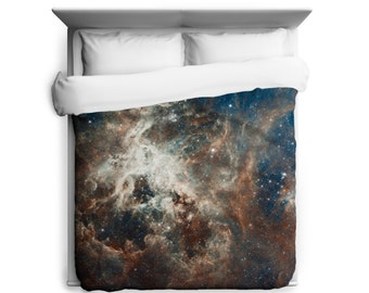 Tarantula Duvet Cover, Hubble's Panoramic View of a Turbulent Star-making Region Duvet Cover - Made in USA